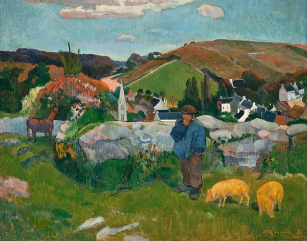 Landschaft in der bretagne paul gauguin als kunstdruck oder handgemaltes ge - Acheter des tableaux ...