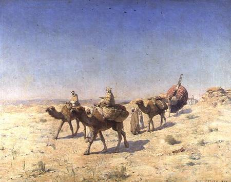 A Camel Train - Paul John Baptiste Lazerges als Kunstdruck ...