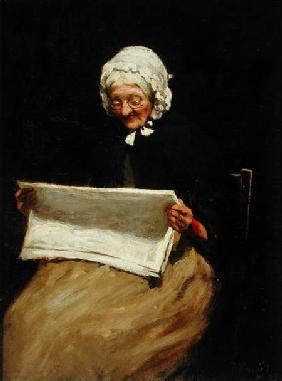 Old Woman Reading a Newspaper 1895