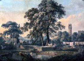 An Italianate Landscape with Women by a Washing Pool 1792  over