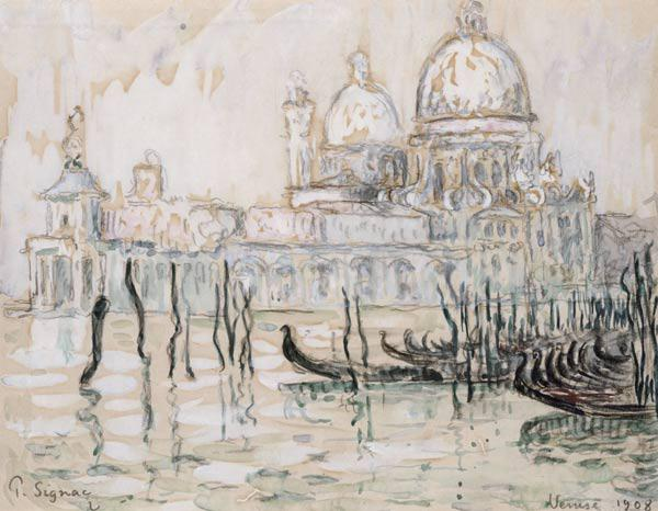 Venice or, The Gondolas, 1908 (black chalk and w/c on paper) 18th