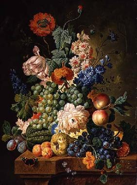 Fruit and Flowers on a Marble Table 1794
