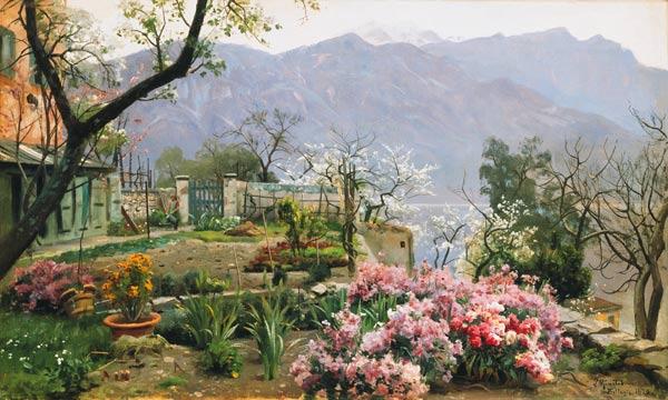 Blumen garten  Blumengarten bei Bellagio. - Peder Moensted als Kunstdruck oder ...