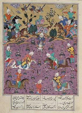 Ms D-184 fol.140a Siavosh Playing Polo with Afrasiab, from 'Firdawsi's Shahnama'