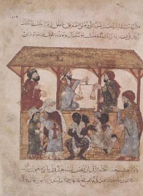 Ms. Ar 5847 f.105 A Slave Market, from 'Al Maqamat' The Meetings) by Al-Hariri