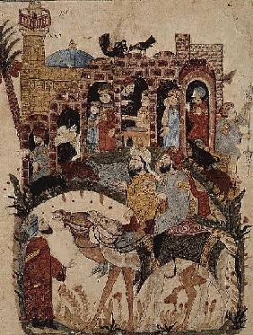 Ar 5847 f.138 Abu Zayd and Al-Harith questioning villagers from 'The Maqamat' (The Meetings) by Al-H