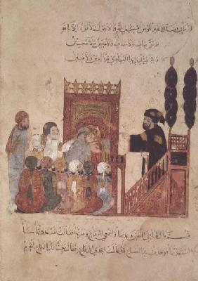 Ms Ar 5847 f.18v Abou Zayd preaching in the Mosque, from 'Al Maqamat' The Meetings) by Al-Hariri