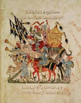 Ar 5847 f.94v Caravan going to Mecca from 'The Maqamat' (The Meetings) by Al-Hariri 1225-1250