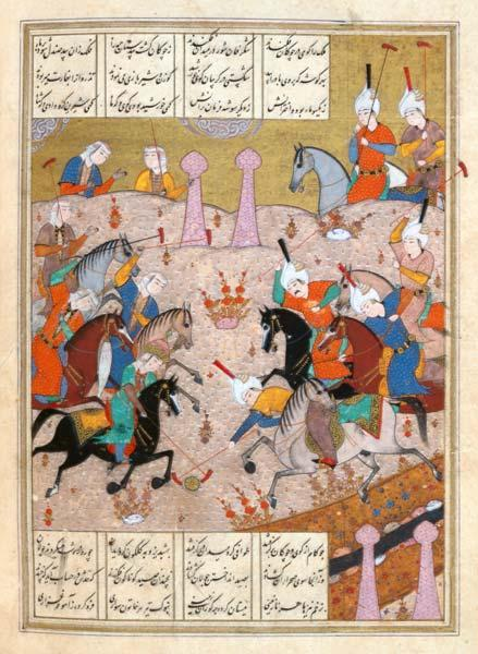 Ms d-212 A Game of Polo Between a Team of Men and a Team of Women, from the 'Khamsa' of Nizami c.1550