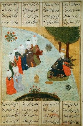 Alexander and the Seven Wise Men, from the manuscript 'Iskandar-nama' by Nizami c.1475-148