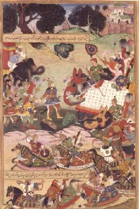 Battle between the forces of Persia and Turan, illustration from the 'Shahnama' (Book of Kings) 1396