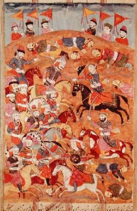 Battle between the Persians and the Turanians, illustration from the 'Shahnama' (Book of Kings), by