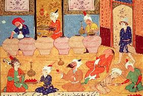 Fol.33v, Detail of a banquet with musicians, from a book of poems Hafiz Shirazi (c.1325-c.1388) 1554