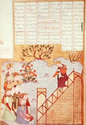 Genghis Khan (c.1162-1227) addressing a congregation at the mosque in Bukhanra, from a Shahinshanama c.1397-98