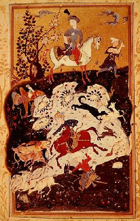 Hunting Scene from ''The Book of Love'', Safavid Dynasty