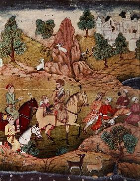 Hunting with a falcon, Safavid dynasty (1502-1736)