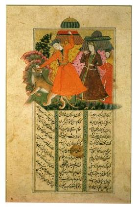 Khusrau Attacks a Lion in Front of Shirin's Tent, illustration from the 'Shahnama' (Book of Kings) b 17th centu