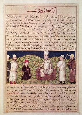King surrounded courtiers, illustration from a page of the ''Universal History'' (''Majma al-Tawarik