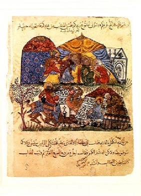 An old man and a young man in front of the tents of the rich pilgrims, from 'The Maqamat' (The Meeti c.1240