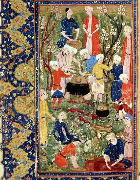 Preparing a meal, illustration from an epic poem Hafiz Shirazi, Safavid