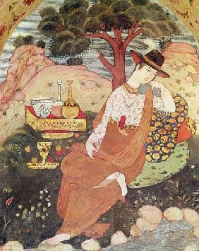 Princess sitting in a garden, Safavid Dynasty