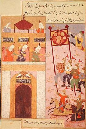 Tamerlane (1336-1405) Besieging Urganj, from the Zafarnama of Shaval ad-Din, copied by Murshid al At 1523