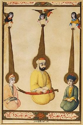 The first three Shiite Imams: Ali with his sons Hasan and Husayn, illustration from a Qajar manuscri