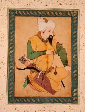 A Turkoman or Mongol Chief holding an Arrow, from the Large Clive Album 1591-92 in