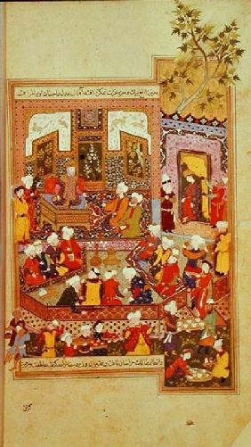 Ulugh Beg (1393-1449) dispensing justice at Khurasan, illustration from the 'Shahnama' (Book of King 1486