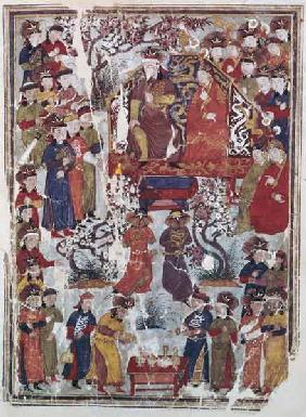 Ms. Supp. Pers. 113 f.44v Genghis Khan and his wife Bortei enthroned before courtiers 14th