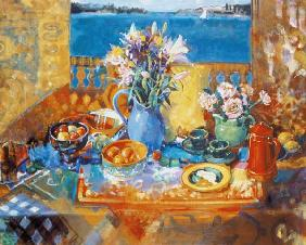 The Balcony Table (oil on canvas)