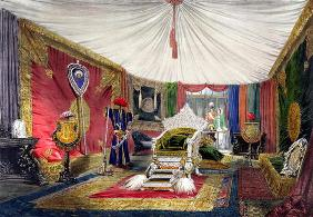 View of the tented room and ivory carved throne, in the India section of the Great Exhibition of 185 18th