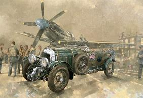 Bentley and Spitfire (oil on canvas)