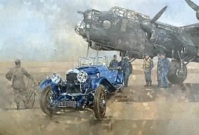 Able Mable and the Blue Lagonda (oil on canvas)