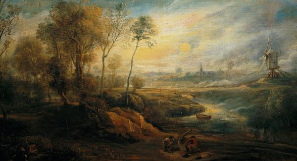 Landschaftsmalerei barock  Landscape with a Birdcatcher - Peter Paul Rubens als Kunstdruck ...