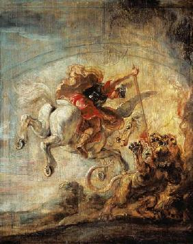 Bellerophon Riding Pegasus Fighting the Chimaera
