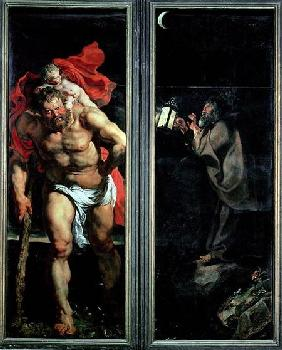St. Christopher and the Hermit, outside shutters of the Descent from the Cross triptych 1611-14