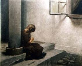 Girl Sitting on the Steps (coloured mezzotint)