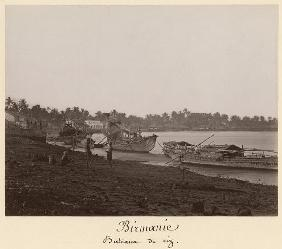 Boats carrying rice on the River Thanlwin, Mupun district, Moulmein, Burma, late 19th century (album