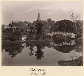 Island pavilion in the Cantanement Garden, Rangoon, Burma, late 19th century (albumen print) (b/w ph