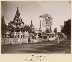Wayzayanda monastery and pagodas at Moulmein, Burma, c.1890 (albumen print) (b/w photo)