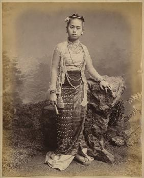 Young Burmese girl, c.1875 (albumen print) (b/w photo)
