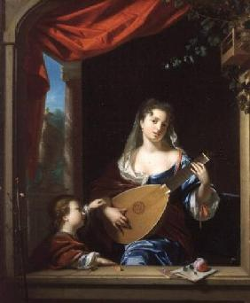 Elegant Lady Playing the Lute at a Window (panel)