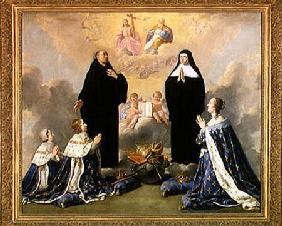 Anne of Austria (1601-66) and her Children at Prayer with St. Benedict and St. Scholastica 1646