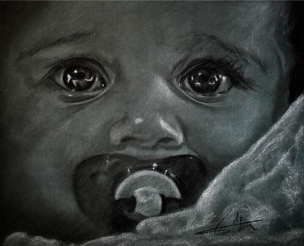 Regars bebe a la sucette philippe flohic als kunstdruck - Dessin sucette bebe ...