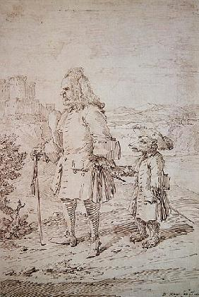 Dr. James Hay as a Bear Leader, c.1704-29 (pen and ink on paper)