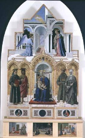 Altarpiece: Annunciation; Madonna and Child with Saints; Miracles of St. Anthony, St. Francis and St