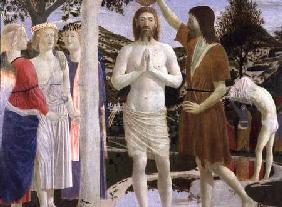 Baptism of Christ, detail of Christ, John the Baptist and angels 1450
