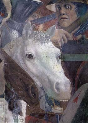 The Legend of the True Cross, the Battle of Heraclius and Chosroes, detail of a horse and a soldier completed