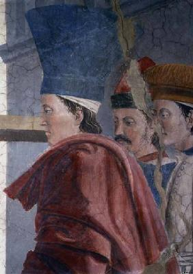 The Legend of the True Cross, the Verification of the True Cross, detail of three male attendants completed